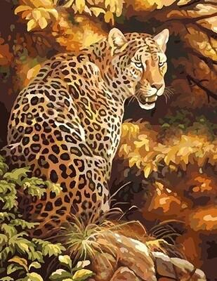 Картина по номерам 40х50 - Леопард в лесу