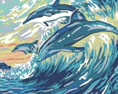 Картина по номерам 40х50 - Дельфины на волне