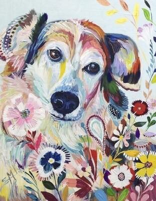 Картина по номерам 40х50 - Цветочный пёс