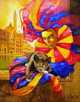 Картина по номерам 40х50 - Кот и Арлекин