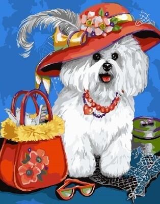 Картина по номерам 40х50 - Белая собачка