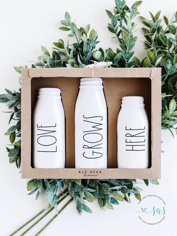 Rae Dunn Ceramic Milk Bottles/Vases LOVE GROWS HERE