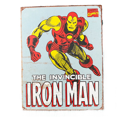 Marvel Comics Iron Man Retro Tin Sign Art