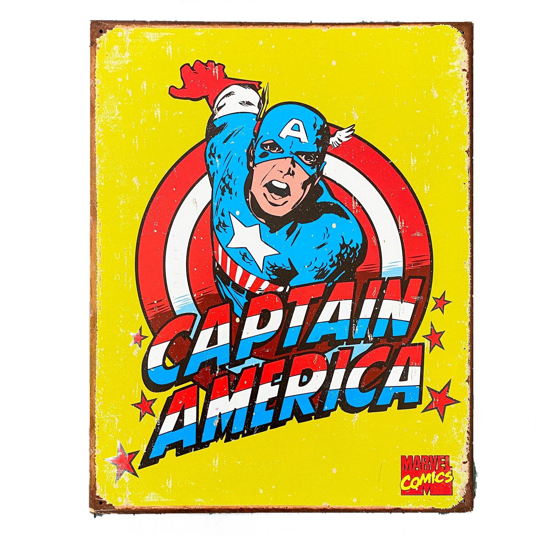 Marvel Comics Captain America Retro Tin Sign Art