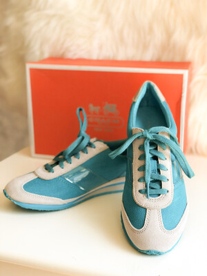 {RARE} COACH Mae Turquoise/Cloud Canvas Sneaker