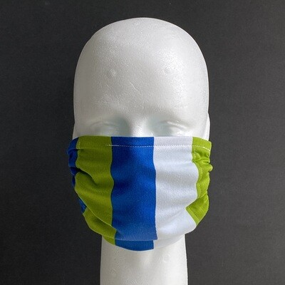 Blue, Green and White Stripe Reusable Cloth Face Mask