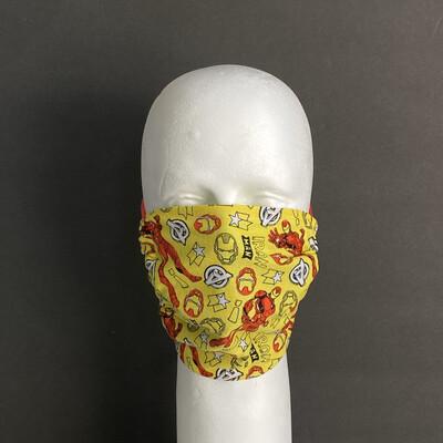 Marvel Doodle Iron Man Adjustable Reusable Cloth Face Mask