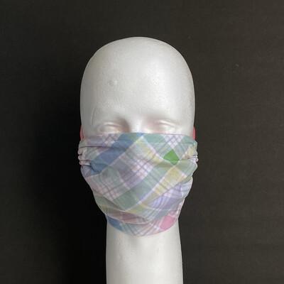 Pastel Plaid Adjustable Reusable Cloth Face Mask