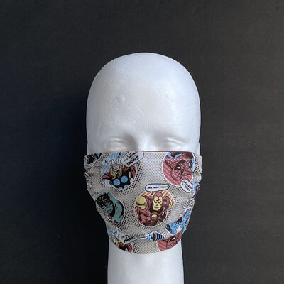Marvel Avengers Badges On Cream Adjustable Reusable Cloth Face Mask