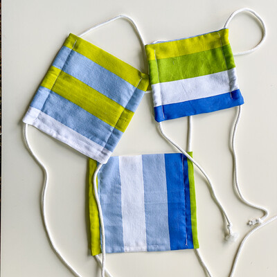 READY TO SHIP Blue And Green Stripe Adjustable Reusable Cloth Face Covering