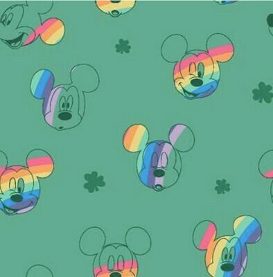 EasyFit Disney Rainbow Mickey Mouse on Green Reusable Cloth Face Mask