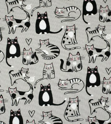 EasyFit Sketch Cats on Grey Reusable Cloth Face Mask