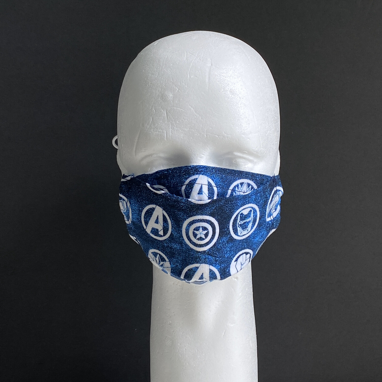EasyFit Avengers Blue w/White Badges Reusable Cloth Face Mask