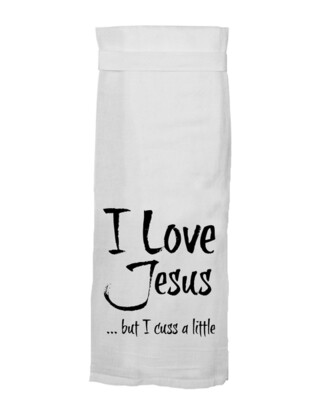 I Love Jesus..Cuss Hand Towel by Twisted Wares