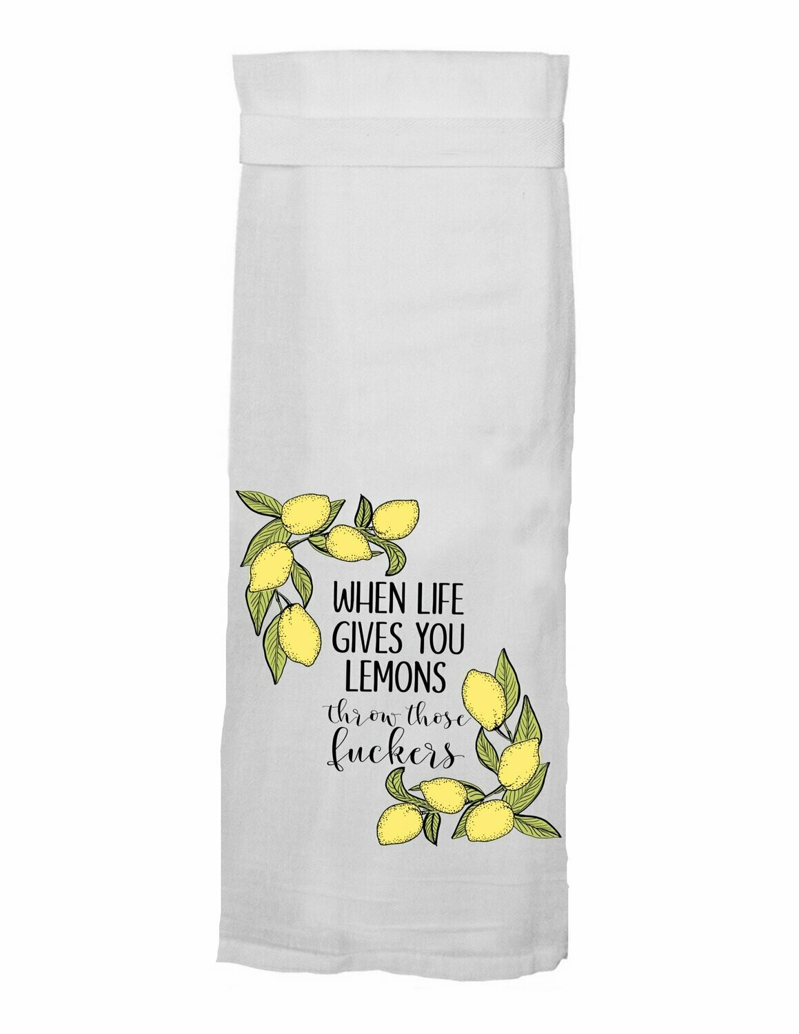 Throw Lemon Hang Tight Towel By Twisted Wares