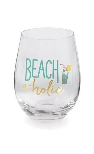 Beachaholic Wine Glass By Mudpie