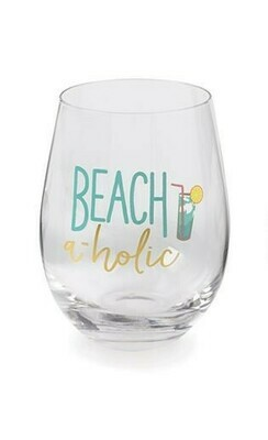 Beachaholic Wine Glass By Mudpie