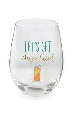 'Ship Faced' Wine Glass By Mudpie