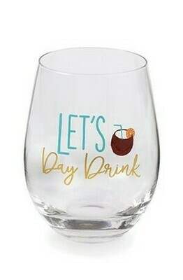 Let's Drink Beach Wine Glass By Mudpie