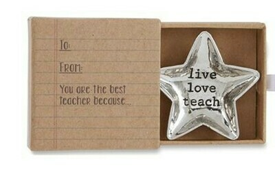 Silver Star Teacher Metal Dish By Mudpie