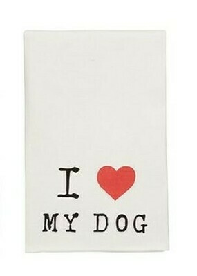 I Love My Dog Wine Towel By Mudpie