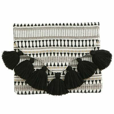 BlackWoven Tassel Clutch By Mudpie