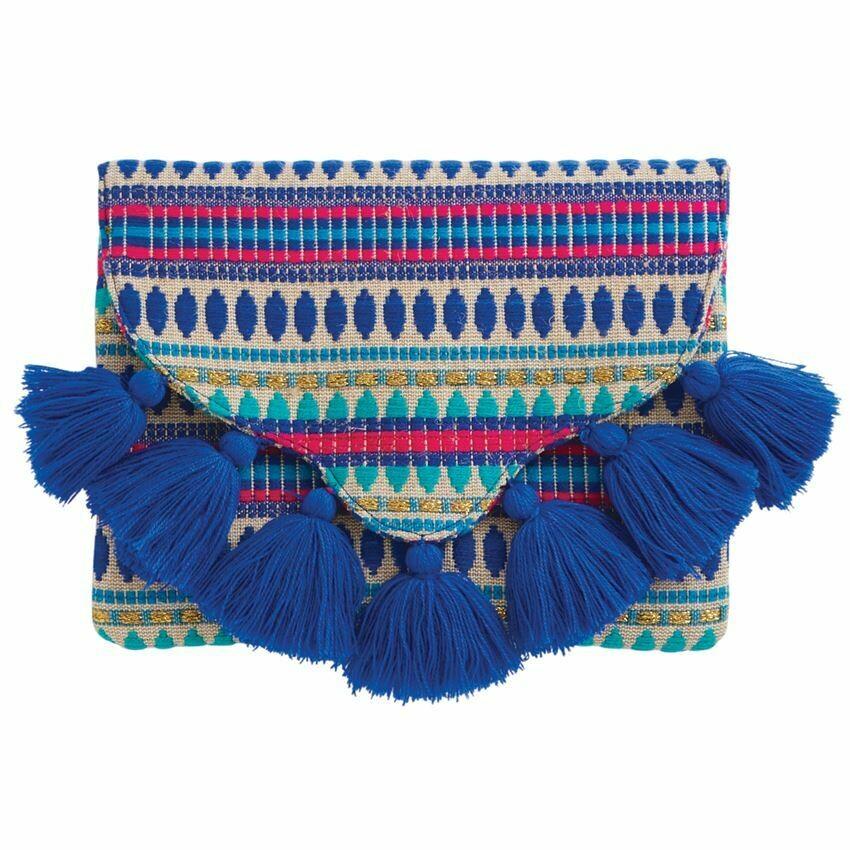 Blue Woven Tassle Clutch By Mudpie