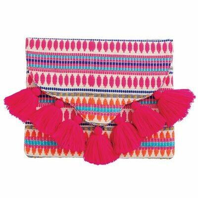 Pink Woven Tassel Clutch By Mudpie