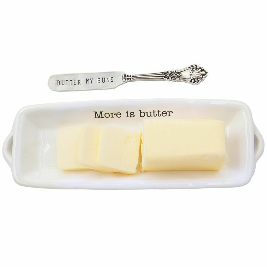 "'More Is Butter"" Butter Dish By Mudpie"