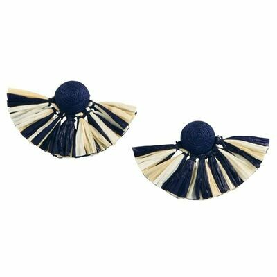 Raffia Fan Earrings By Mudpie (Navy)