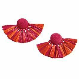 Raffia Pink Fan Earrings By Mudpie