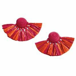 Raffia Fan Earrings By Mudpie (Pink)