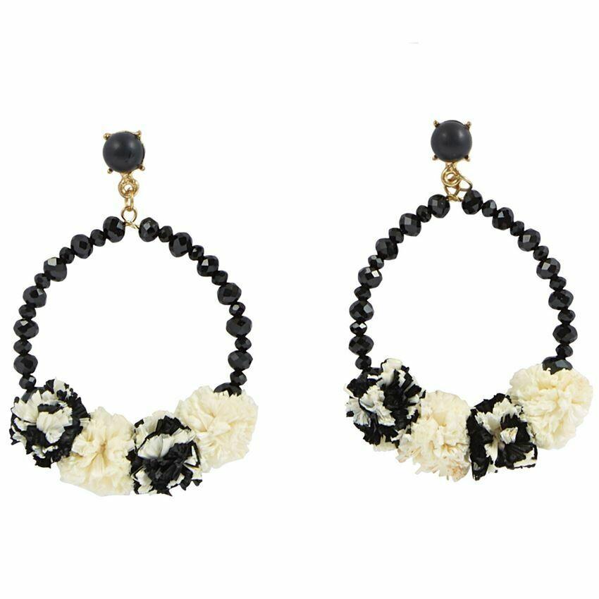 Raffia Hoop Earrings By Mudpie (Black)