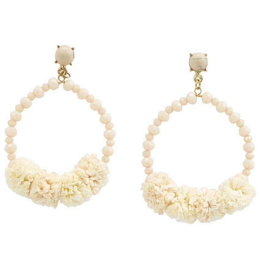Raffia Hoop Earrings By Mudpie (Cream)