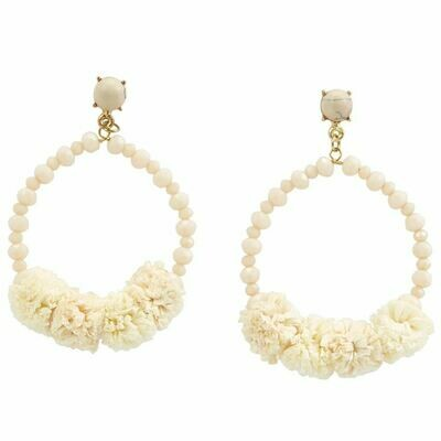 Raffia Hoop Earrings By Mudpie (Cream)