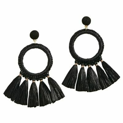 Raffia Tassle Earrings By Mudpie (Black)