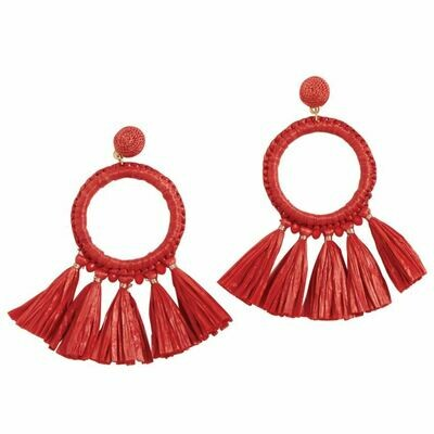 Raffia Tassel Earrings By Mudpie (Red)