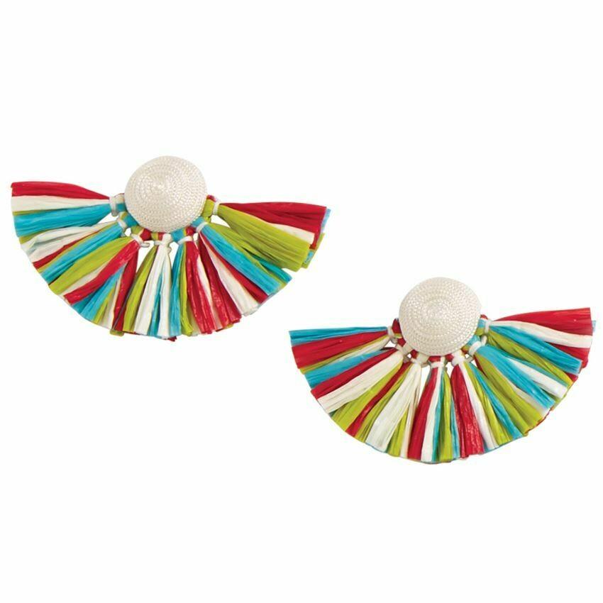 Raffia Fan Earring By Mudpie (White)