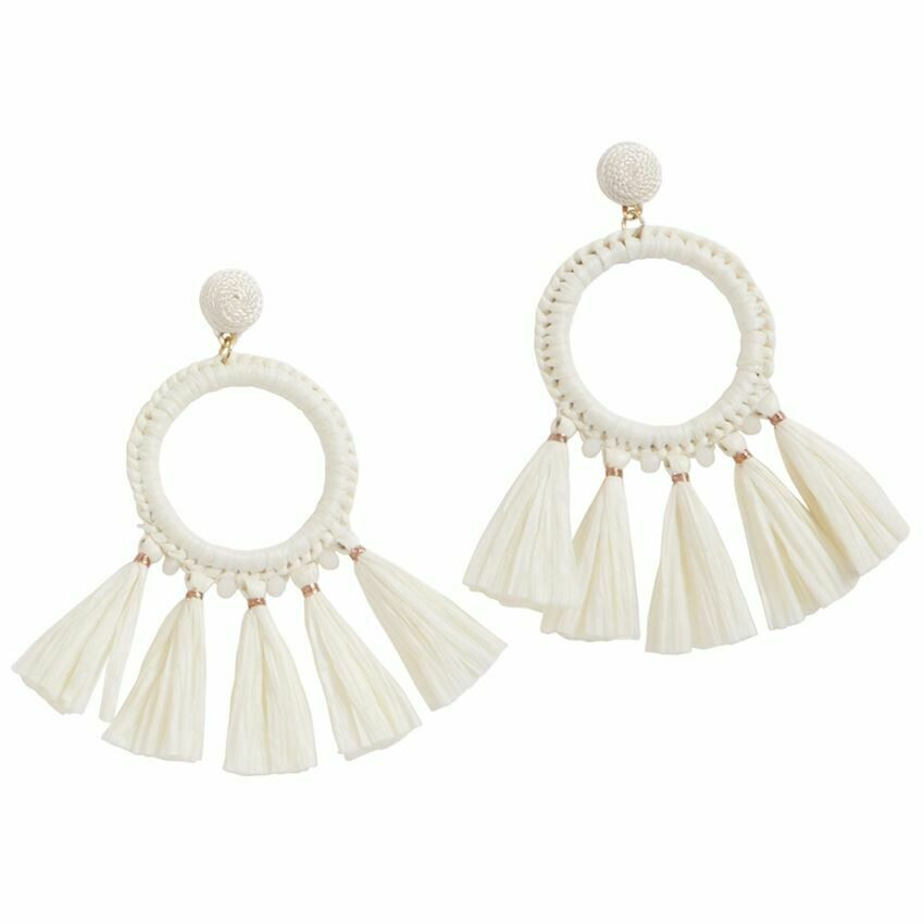 Raffia Tassel Earring By Mudpie (White)