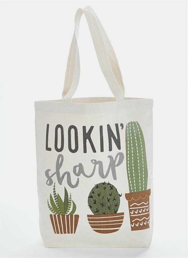 Lookin Sharp Cactus Canvas Tote Bag By Mudpie