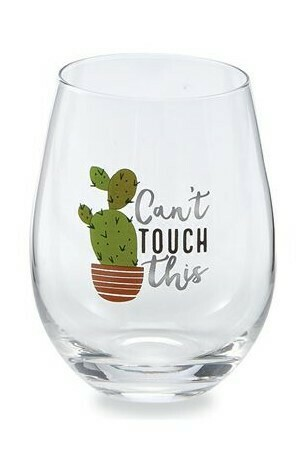 Cant Touch This Cactus Wine Glass By Mudpie