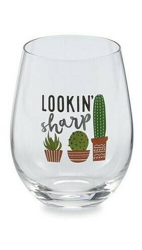 Lookin Sharp Cactus Wine Glass By Mudpie