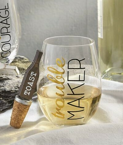 'Trouble Maker' Glass With Topper By Mudpie