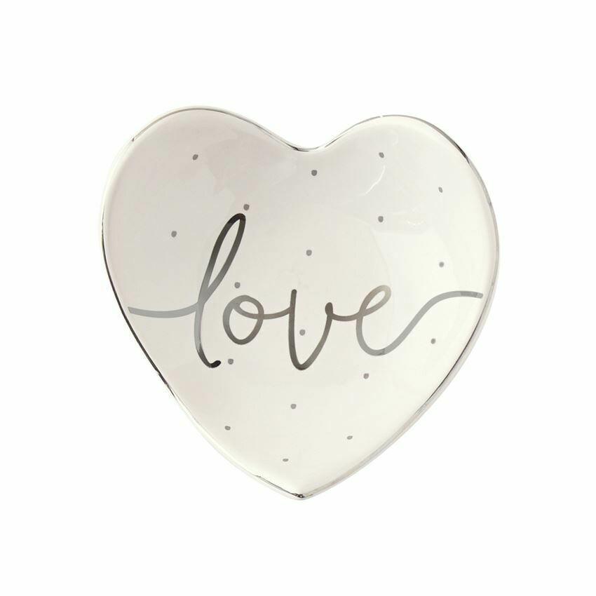 Love Heart Shaped Trinket Dish By Mud Pie