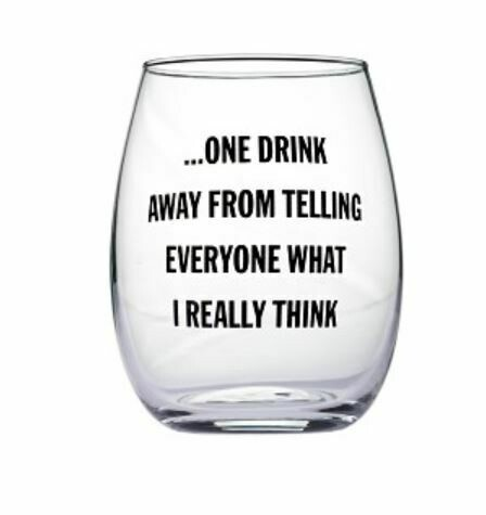 One Drink Stemless Wine Glass By Snark City