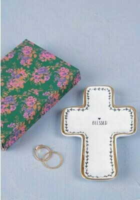 Be Blessed Cross Large Trinket Dish By Natural Life
