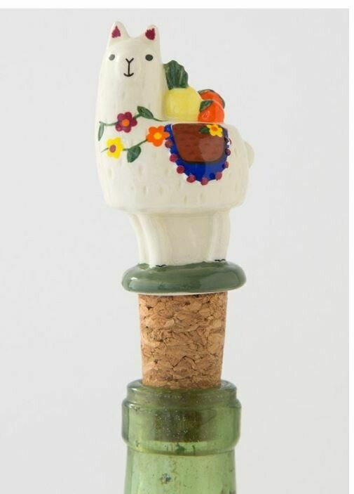 Llama Bottle Stopper By Natural Life