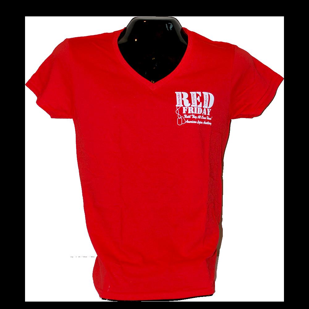 Red Shirt Friday V Neck Tee