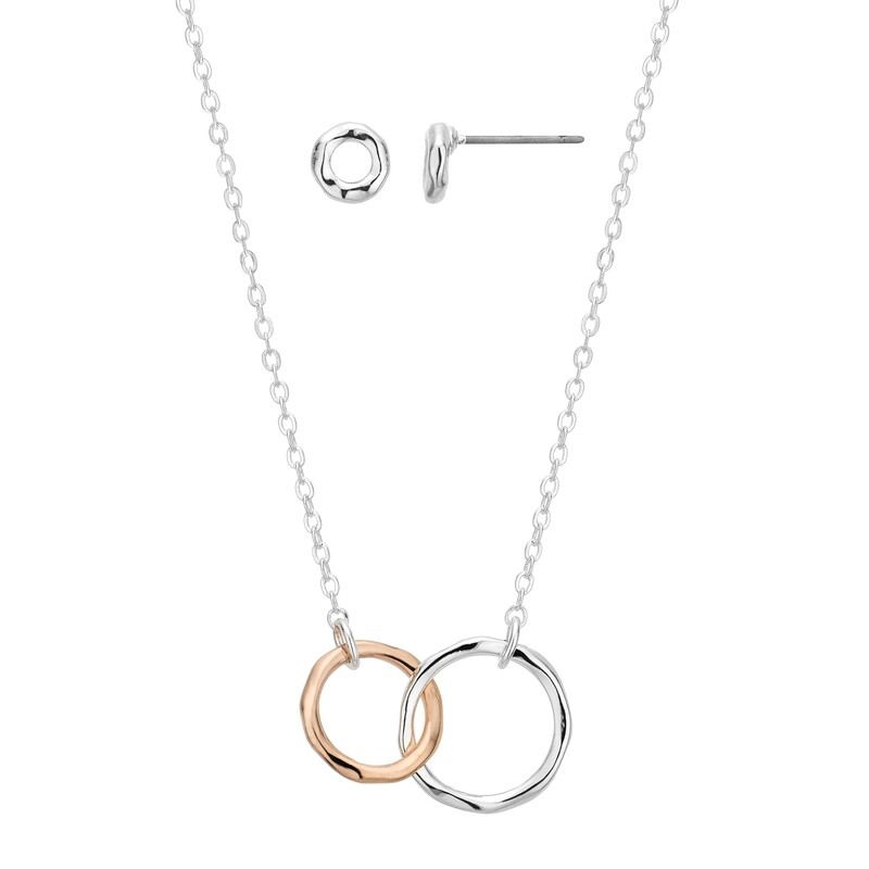 Entwined Rings Earrings and Pendant Set