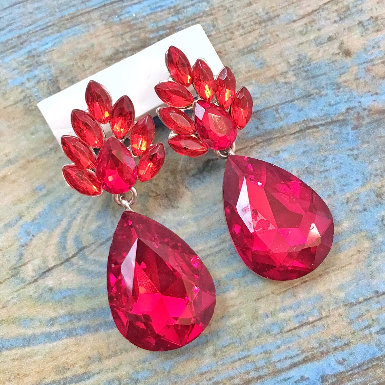 Red Teardrop Crystal Event Earrings